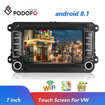 Podofo 2Din Android 8.1 7'' GPS Car MP5 Multimedia Video Player Car Radio Auto Radio Stereo Audio For VW/Skoda/Passat/Golf/Polo image