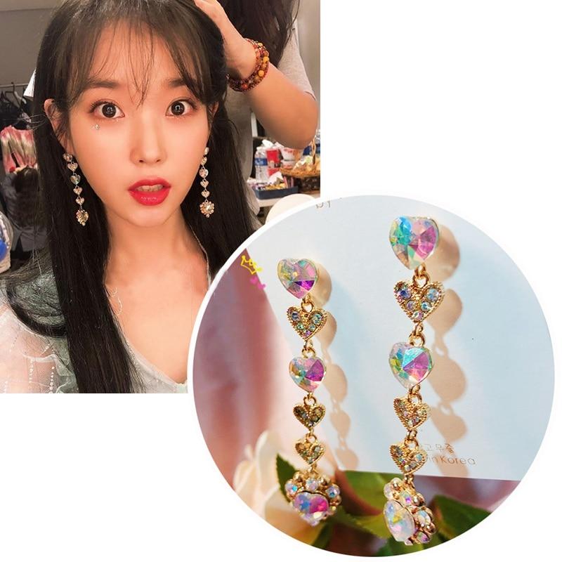 MENGJIQIAO Korean TV Star New Luxury Colorful Heart Crystal Long Pendientes Mujer Moda Exaggerated Rhinestone Drop Earrings