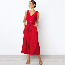 Jumpsuit Women Red Black Plus Size Button Wide Leg Pants 2019 New V Neck Fashion Sexy Pockets Belt Loose Sleeveless Romper LR233(China)