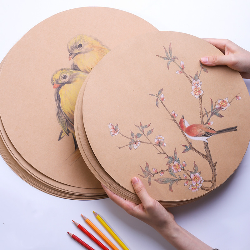 Round Kraft Paper 200g/250gsm 25/50pcs A4 Blank Brown Kraft Paper DIY Hand Painting Card Making Craft Paper Thick Paperboard