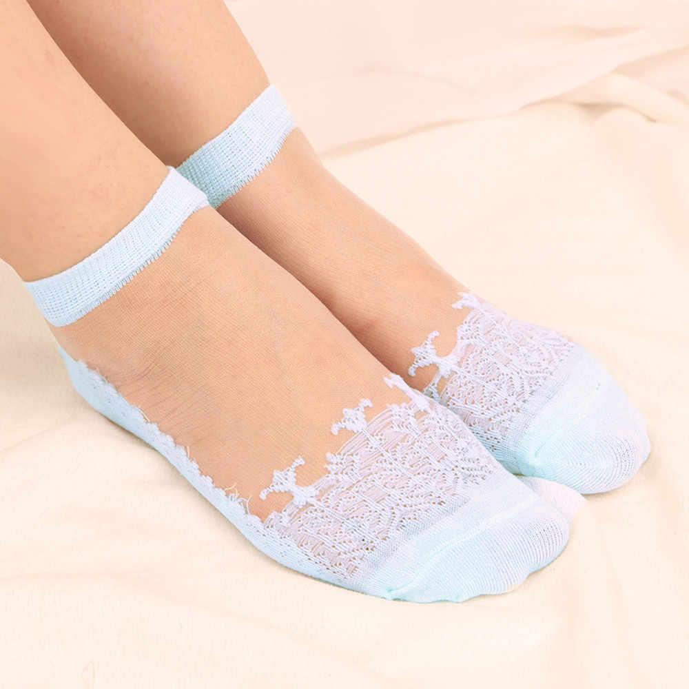 Ultrathin ถุงเท้ารองเท้าแตะเรือ Modis ข้อเท้าถุงเท้าฤดูใบไม้ร่วงฤดูใบไม้ผลิโปร่งใสคริสตัลลูกไม้ Elastic สั้นถุงเท้าที่มองไม่เห็น