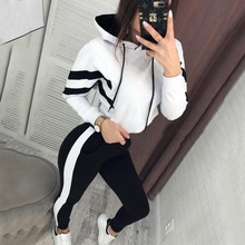 Tracksuit Women Sport White Two Piece Pants Set Crop Top Jogger Hoodie Clothes 2019 Ensemble Femme Runway Suit Plus Size Fashion