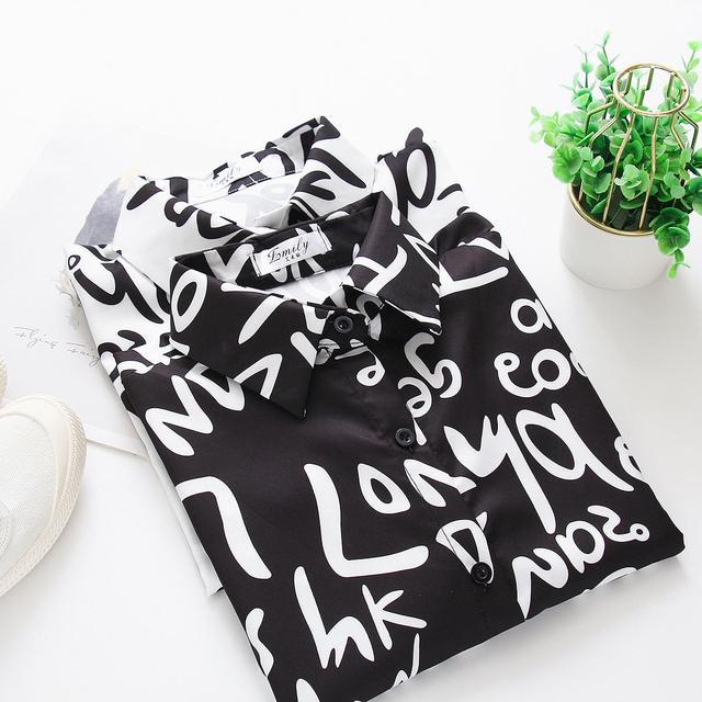 Graffiti letter printing Blouse Shirt  3