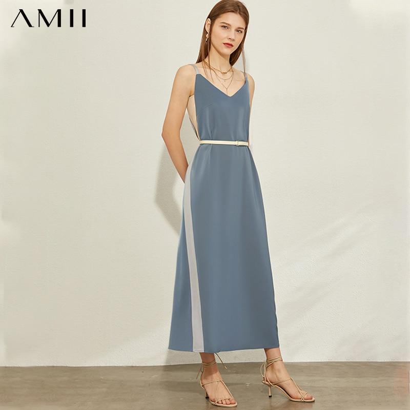 AMII Minimalism Spring Summer Fashion Spliced Suspender Women Dress Sleeveless Aline Loose Female Ankel-length Dress 12070190
