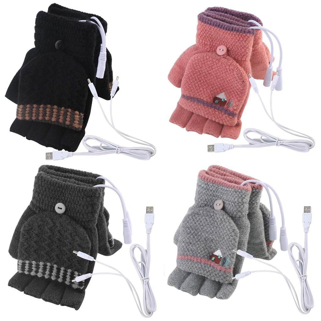 9s 2020 Newest Gloves Women Men USB Heated Mitten Full&Half Finger Winter Warm Knit Hand Gloves @9