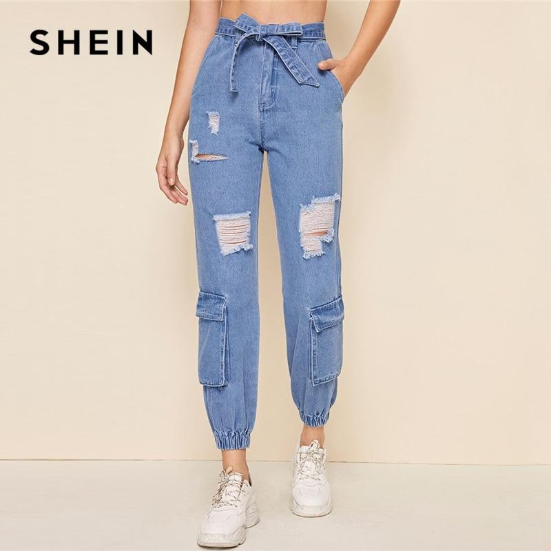 SHEIN Blue Bleach Wash Frayed Edge Pocket Patch Belt Carrot Jeans Women 2019 Autumn Zipper Fly High Waist Casual Denim Trousers