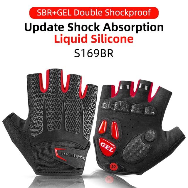 ROCKBROS Cycling Gloves Half Finger Shockproof Wear Resistant Breathable MTB