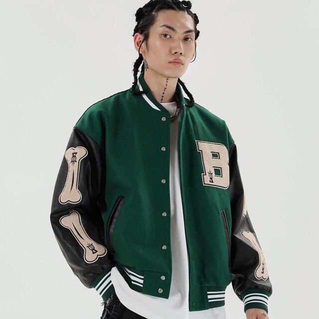 LACIBLE 2020SS Hip Hop Furry Bone Patchwork Color Block Jackets Mens Harajuku Streetwear Bomber Jacket Men Baseball Coats Unisex 4