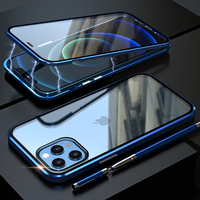 Funda magnética de Metal para teléfono móvil iPhone, carcasa de cristal transparente de doble cara para iPhone 12 Pro 11 Xr Xs Max Mini X 8 7 Plus SE