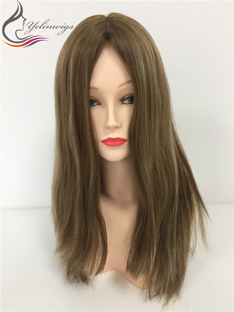 Hight Quality 14 Inch Large Layer Highlight Color European Hair Wig  Top Jewish Wig Kosher Wig Sheitels