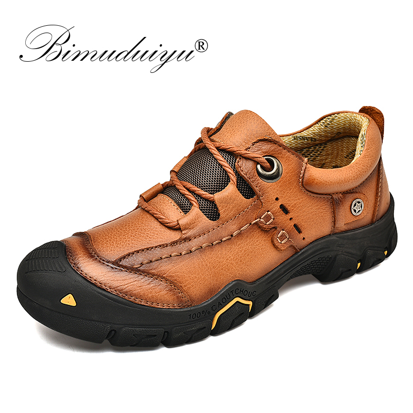 BIMUDUIYU Spring 2020 New Men Shoes Genuine Leather Non-slip Male Flats Lace-up Casual Shoes High Quality Outdoor Sneakers
