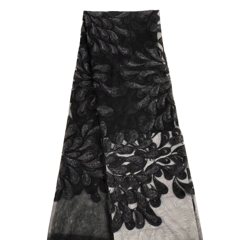 2020 African Lace Fabric Latest Black Besutiful Pattern Embroidered Top Quality Swiss Voile Lace For African Sexy Women Dress