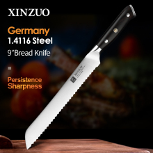 XINZUO German 1.4116 Stainless Steel  9'' Bread Knife 58HRC Serrated Design Cutter Tool For Cutting Bread Cheese Cake Gift Box