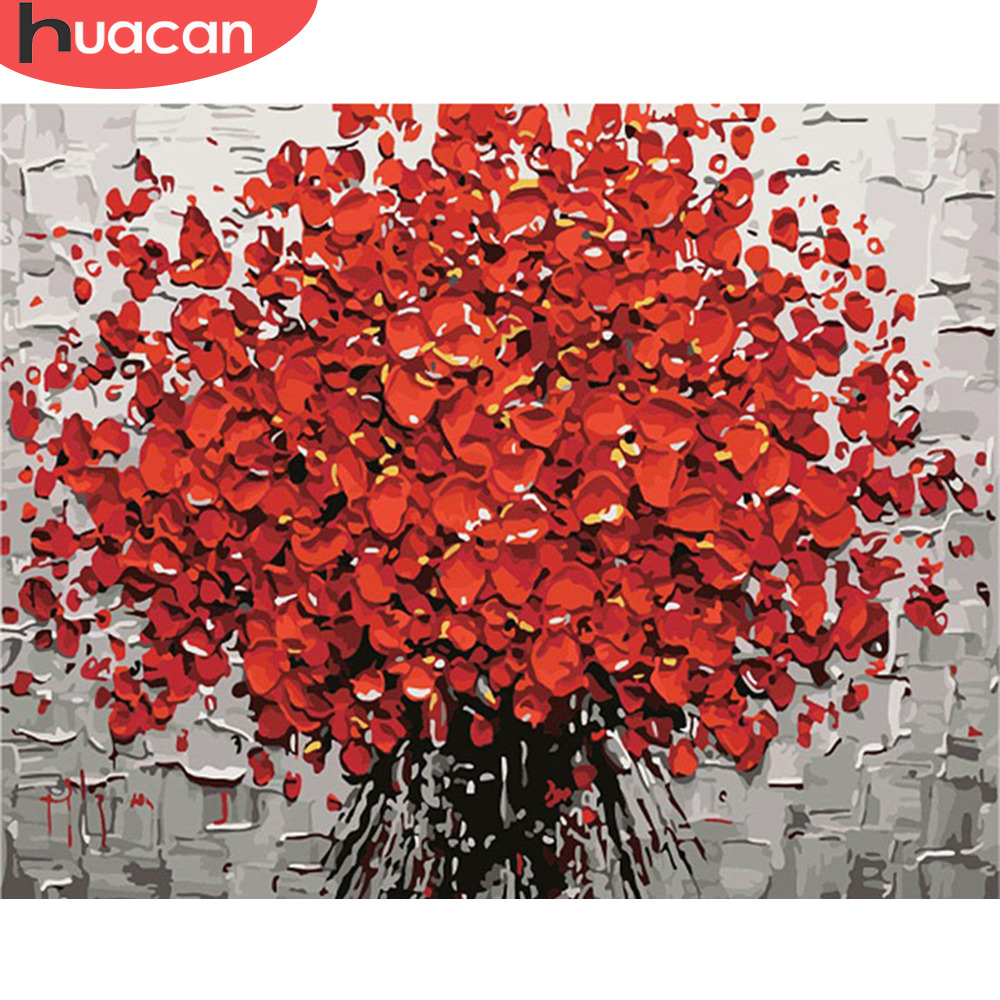 HUACAN DIY Oil Painting By Numbers Flowers Pictures Canvas Painting For Living Room Wall Art Home Decoration Gift