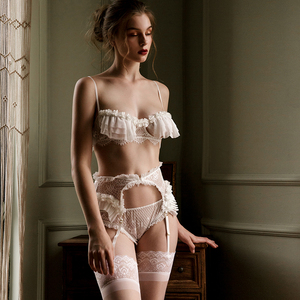 Image 4 - Luxury Pajamas for Women Sleepwear Petals Flowers Lace Sexy Tops Panty with Garter Suspenders Lingerie Set Home Clothes
