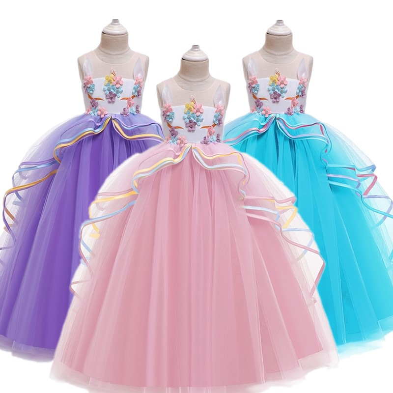 New Year Rainbow Unicorn Cosplay Girls Dress Party Elegant Flower Lace Long Tutu Formal Ball Gown Princess Dresses 3-10 Years
