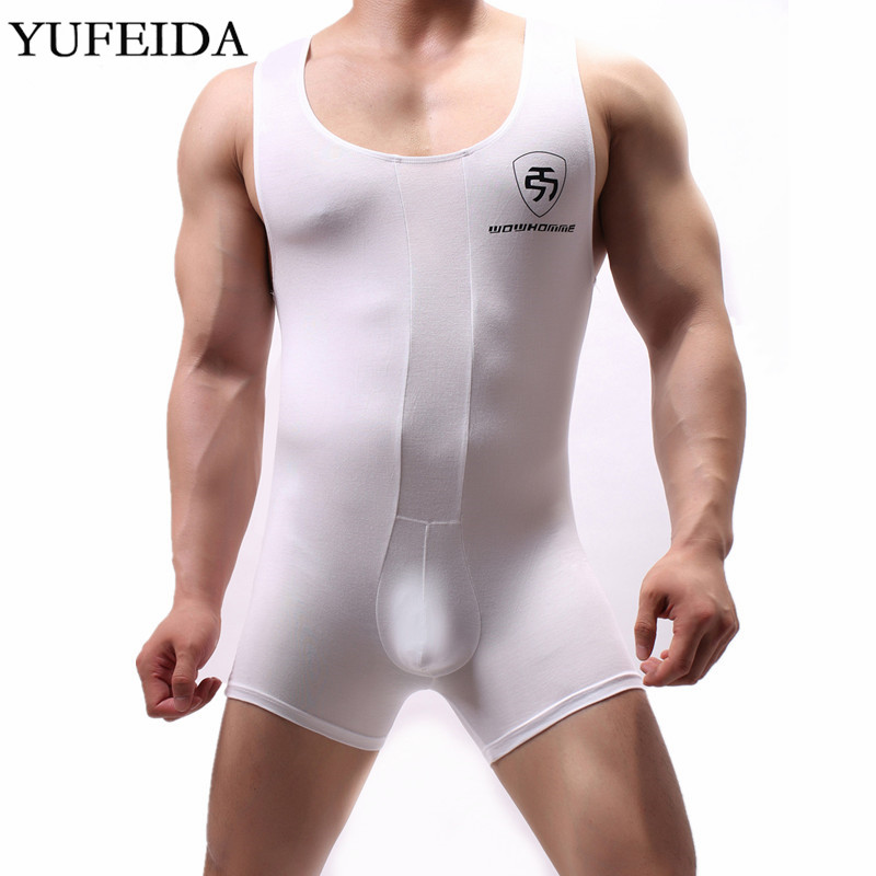Sexy Men Underwear Wrestling Singlet Mens Undershirts Leotard Bodysuits Jumpsuit Swimwear One-piece Bulge Pouch Boxers Rompers