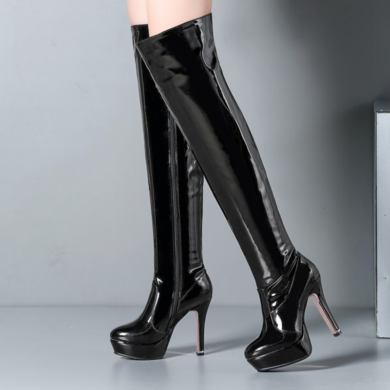 BLXQPYT Sexy High Quality Big Size 34-48 Winter Women Over Knee Boots High Heels(11.5cm) Wedding Party Boots Shoes 5203-12