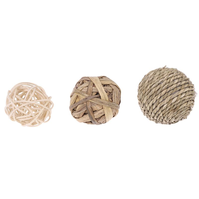 4Pcs Pet Small Animal Activity Play Chew Natural Ball Toys For Rabbits Guinea Pigs Gerbils Y1QB