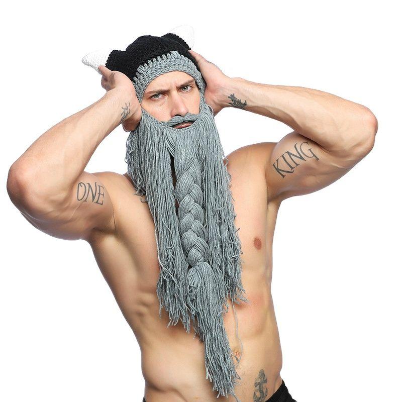 FAVOCENT Men's Barbarian Vagabond Viking Beard Beanie Horn Hats Handmade Winter Warm Birthday Cool Gifts Funny Gag Halloween Cap