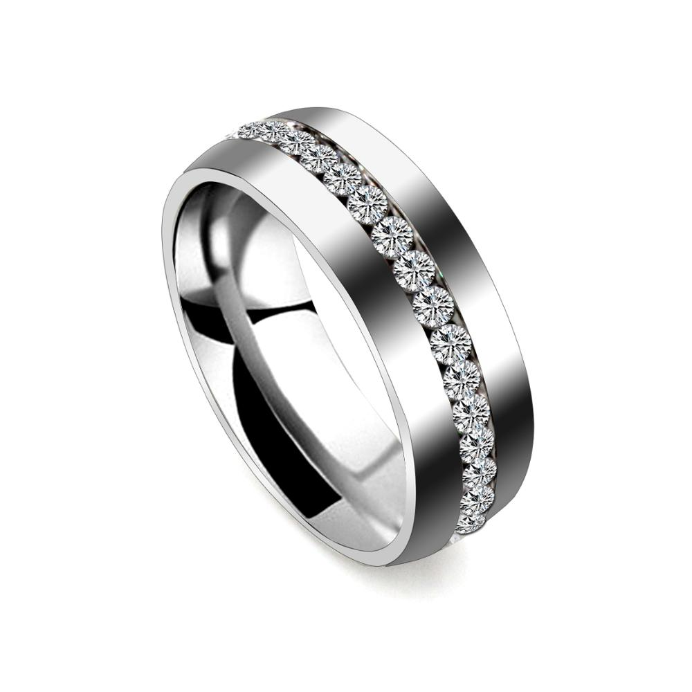 LUXUKISSKIDS Gold Wedding Brands <font><b>Couple</b></font> <font><b>Ring</b></font> <font><b>Set</b></font> for Women Men Jewelry 6mm Stainless Steel Engagement <font><b>Rings</b></font> US Size 4 to 12 2020 image