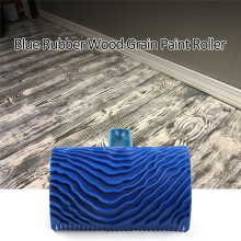 Blue Rubber Imitation Wood Grain Paint Roller Brush Wall Painting Tool Sets Wall Texture Art Painting Tool with Handle image