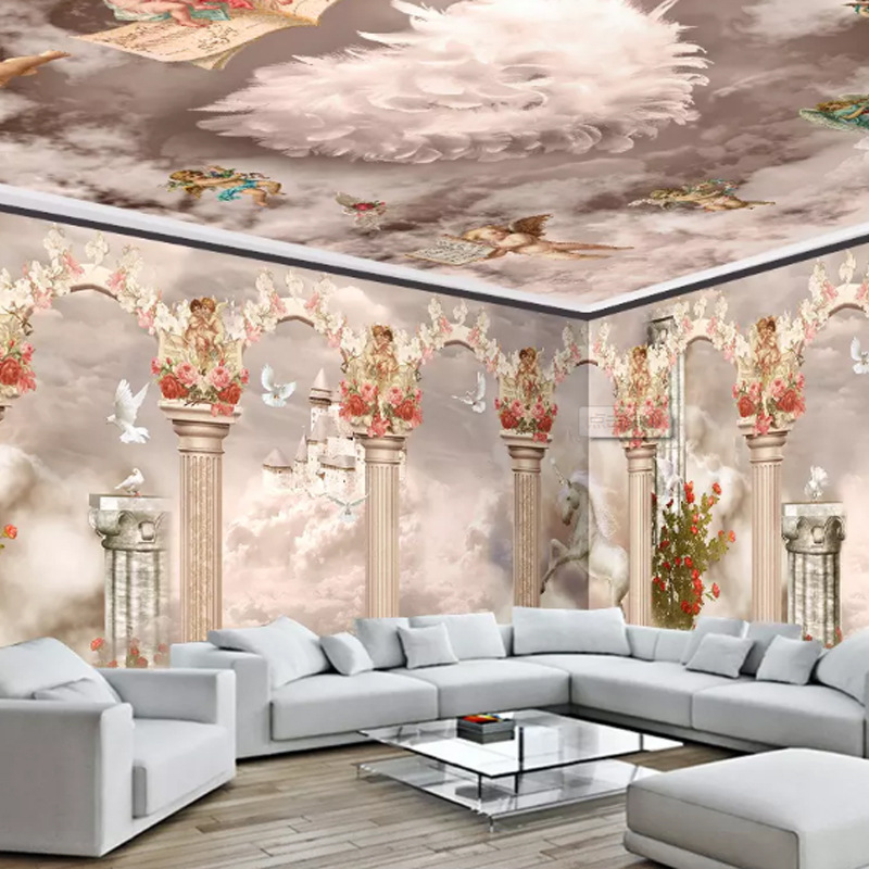 Dreamy Roman Cloud Castle Unicorn Customizable Hotel Room Background Wallpaper Bedroom Living Room Mural