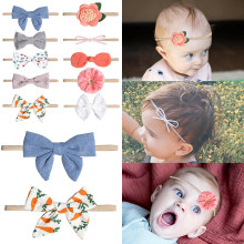 Withe Lace Bow Flower Baby Headbands for girl Elastic Baby Accessories Kids headwear Newborn hairbands photography prop(China)