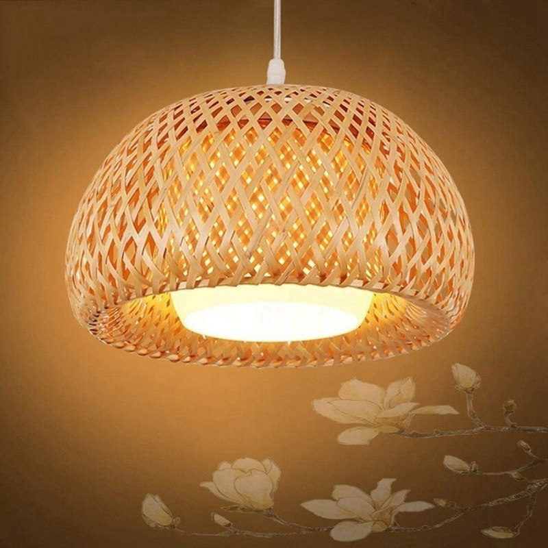 Bamboo Wicker Rattan Lampshade Hand-Woven Double Layer Bamboo Dome Lampshade Asian Rustic