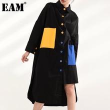 [EAM] Women Black Yellow Blue Pocket Big Size  Dress New Lapel Long Sleeve Loose Fit Fashion Spring Autumn 2021 JY77601