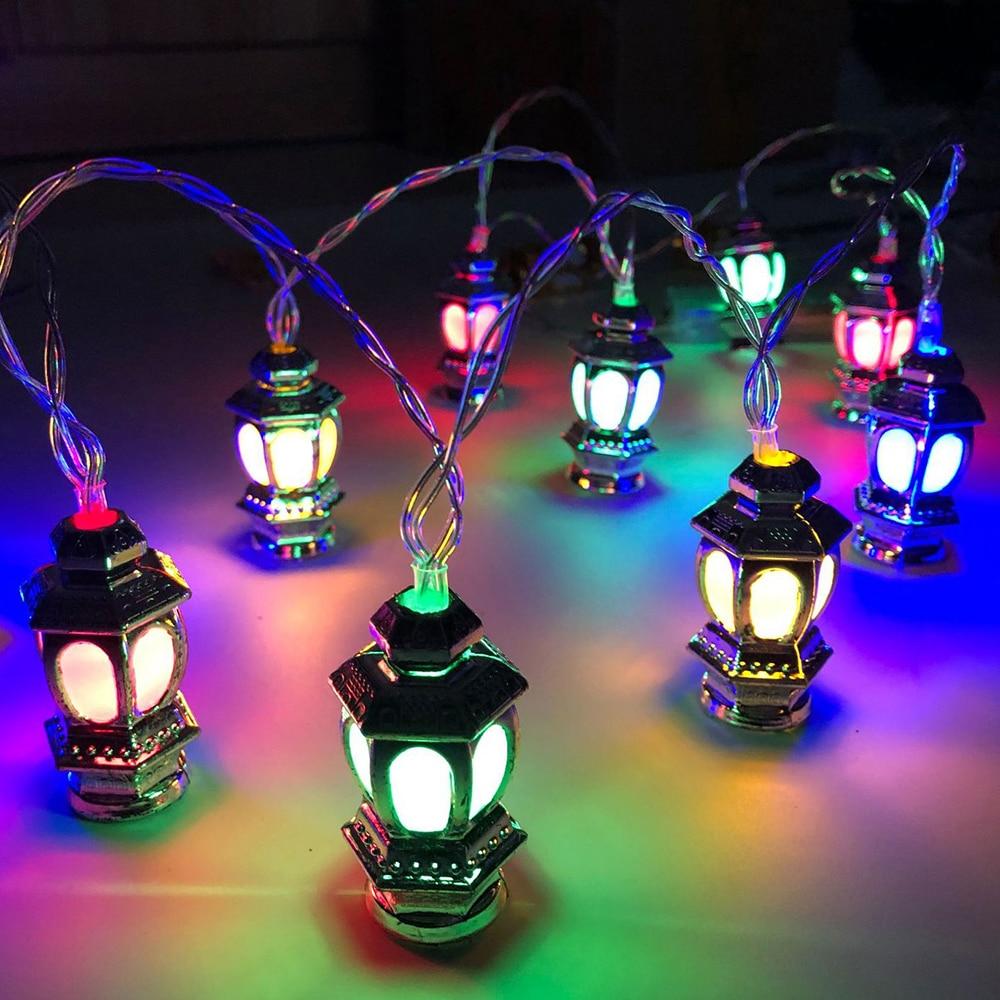 Multicolor Ramadan Eid Mubarak Decorative Novelty Lantern String Lights 10/20Leds Stars Moon Castle Muslim Party String Lights