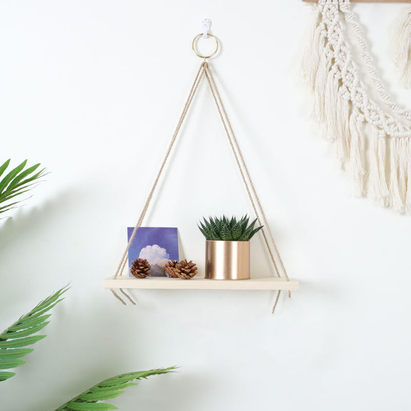 Hanging Wooden Plant Shelf Small Household Parts Storage Rack Wall Rope Hanging  Shelf Bedroom Living Room Office Decoration - buy at the price of $8.20 in  aliexpress.com | imall.com