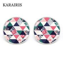 Karairis 2020 новые клетчатые серьги гвоздики с узором из ткани