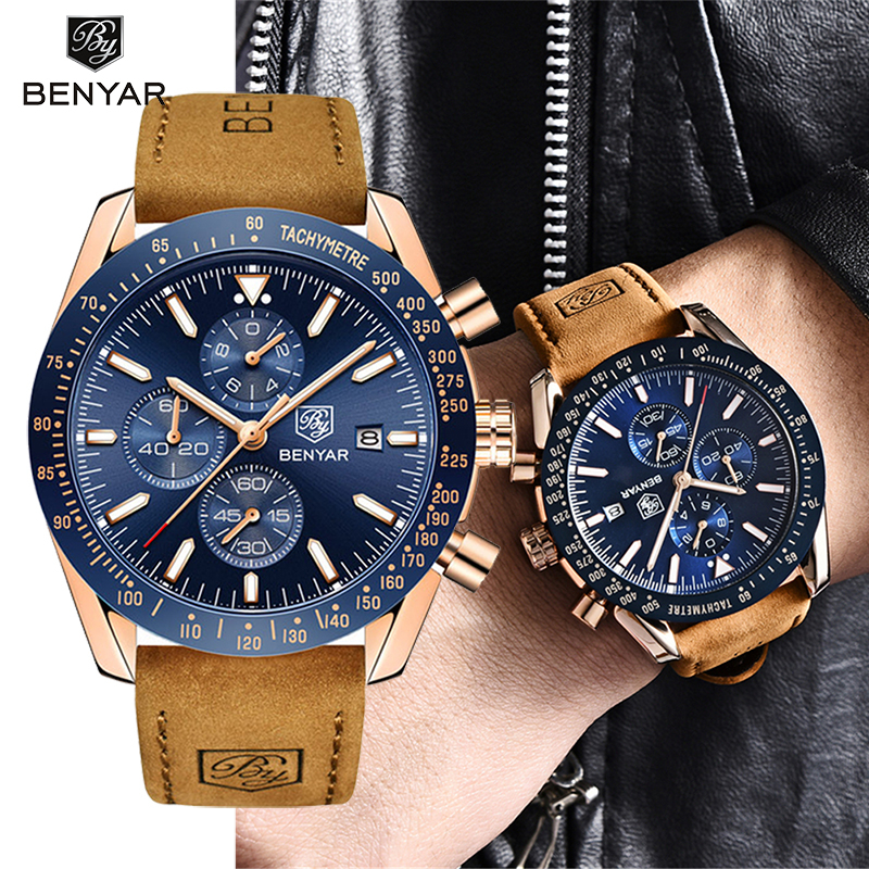 BENYAR Quartz Men's Watches Sport Business Watch Men Top Brand Luxury Wristwacth Men Military Waterproof Clock Relogio Masculino