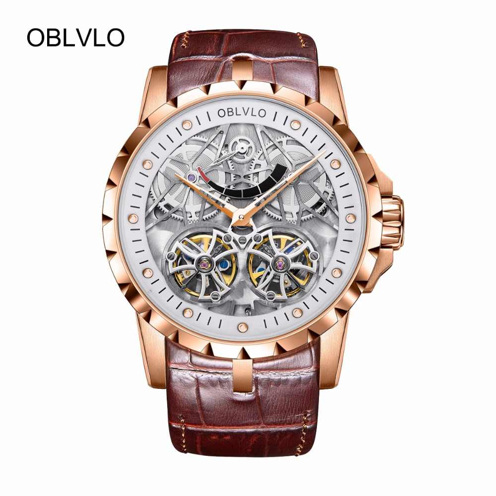 Oblvlo Top Merk Luxe Ontwerp Transparante Hollow Skeleton Horloges Tourbillon Rose Gold Automatische Mannen Horloges OBL3609