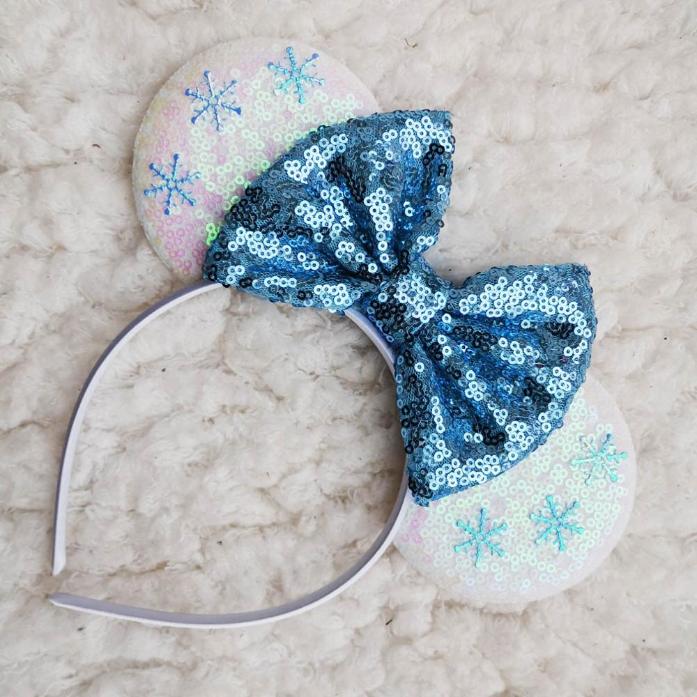 Snowflake Ice Leopard Velvet Bow Minnie Ears Golden Rose Hair Headband For Girl Festival Party Hairband Witch Hair Accessories