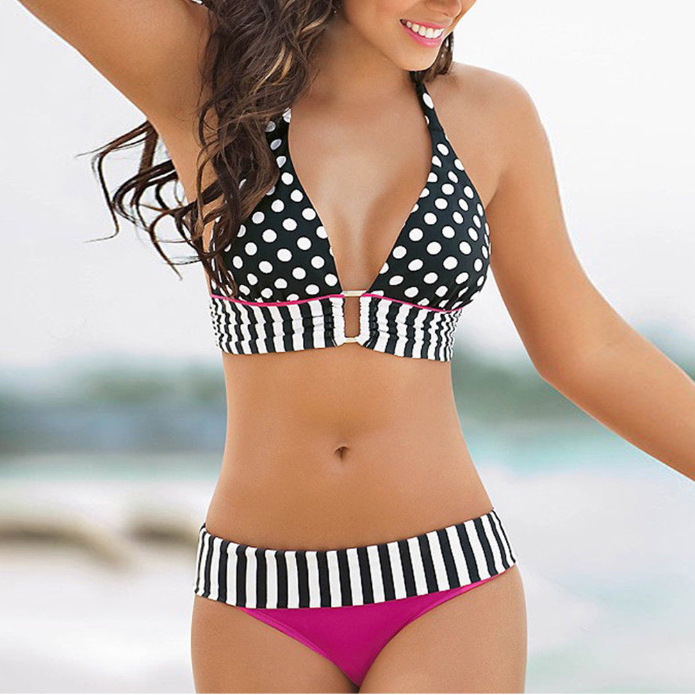 Bikini Swimsuit Women Sexy Striped Split Swimwear Dot Striped Bandage купальник Summer Fashion Wrapped Swimsuit Push Up Bikini