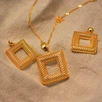 Дубай ювелирные наборы для женщин золотой цвет Эфиопский кулон ожерелья серьги Ближний Восток арабские Африканские свадебные ювелирные из...