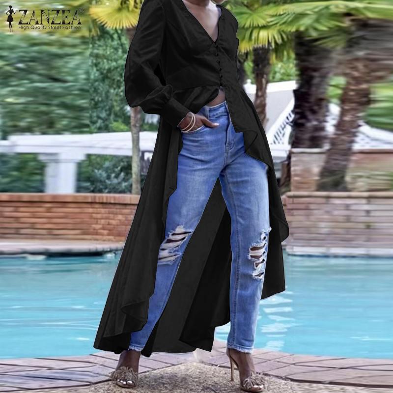 Women Elegant High Low Blouse Ladies Casual Work White Shirt ZANZEA Lantern Sleeve Buttons Long Tunic Tops Cotton Linen Blusas 7
