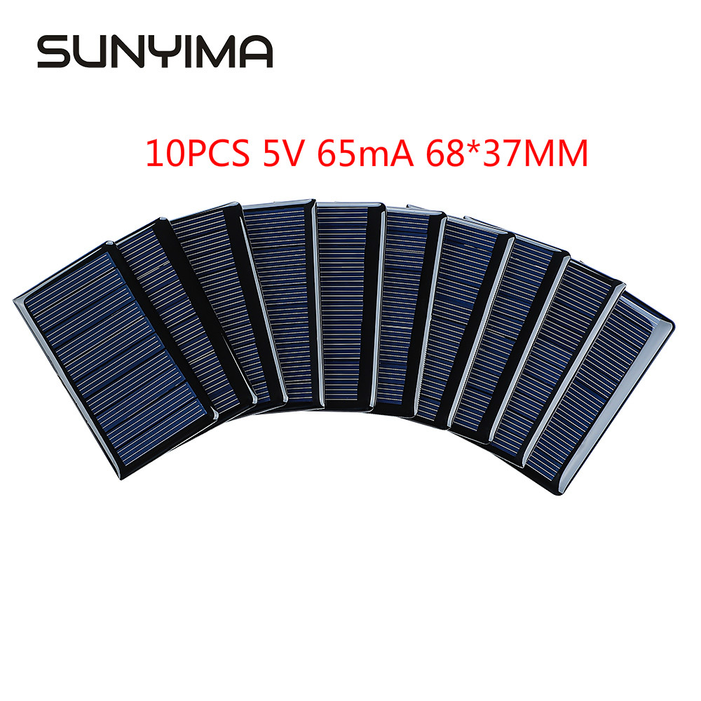 SUNYIMA 10Pcs 5V 65mA Solar Panels Polycrystalline 68x37mm Mini Sunpower Solar Cells DIY Photovoltaic Panel for Battery Charger