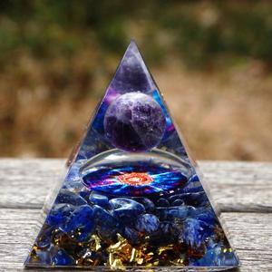 Handmade Orgonite Pyramid 60mm Amethyst Crystal Sphere & Blue Quartz Pyramid Orgone Reiki Energy Healing Meditation