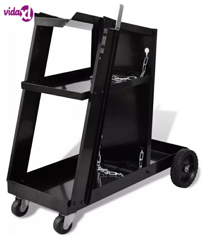 Vidaxl Max 40 Kg Welding Cart Black Trolley With 3 Black-Painted Shelves Workshop Organizer Salon Trolley Commercial Furniture