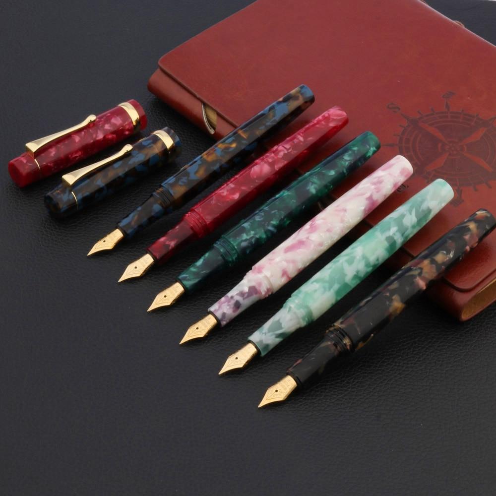 1pc Color Acrylic Gift Pen With Golden Clip Calligraphy Nib Fountain Pen