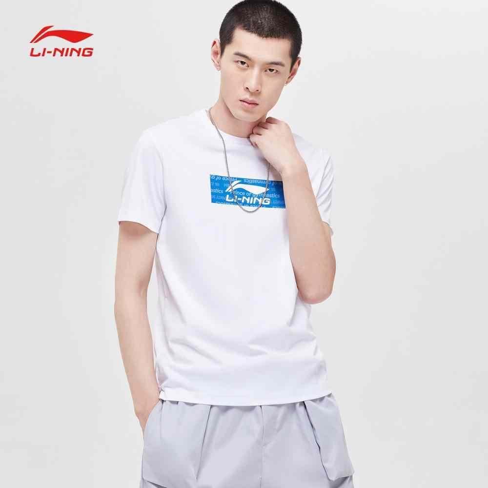 Li-Ning Mannen De Trend Jersey 66% Katoen 34% Polyester Ademend Regular Fit Voering Li Ning Sport T-shirts Tee AHSP023 MTS3040
