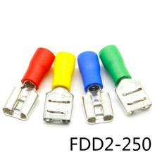 FDD2-250 Female Insulated Electrical Crimp Terminal for 16-14 AWG Connectors Cable Wire Connector 100PCS/Pack FDD2-250 FDD 500 pcs blue 16 14 awg nylon female flag terminal right angle electrical connector