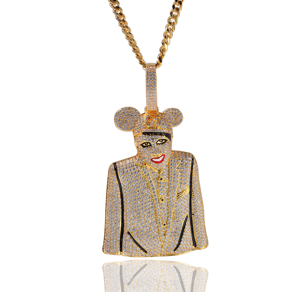 Hip Hop Iced Out Chain Clown Character MICKY Pendant Cubic Zircon Personalized Necklace Man & Women Fashion Explosion Mode Gift