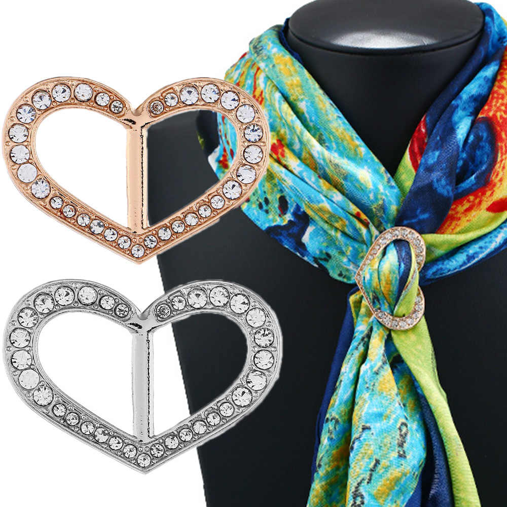 Wanita Selendang Oval Bros Hati Berlian Imitasi Klip Syal Pengikat Emas Perak Sutra Syal Gesper Bros Perhiasan Pernikahan Wanita Hadiah