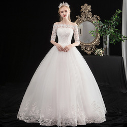 Wedding Dress Elegant Half Sleeve Boat Neck Ball Gown Off The Shoulder Princess Luxury Lace Embroidery Plus Size Wedding Dresses