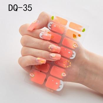 14pcs/sheet Glitter Gradient Color Nail Stickers Nail Wraps Full Cover Nail Polish Sticker DIY Self-Adhesive Nail Art Decoration 74