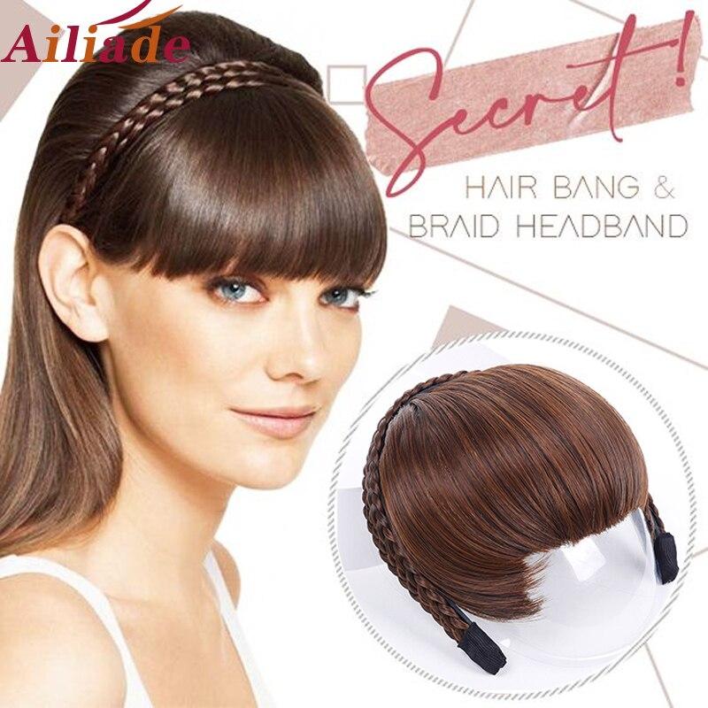 ALIADE синтетические термостойкие волосы аккуратная бахрома с косами повязка на голову тупые челки удлинители волос для женщин шиньоны